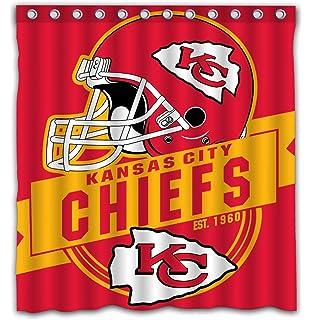 Felikey Custom Kansas City Chiefs Waterproof Shower Curtain Colorful Bathroom Decor Size 66x72 Inches
