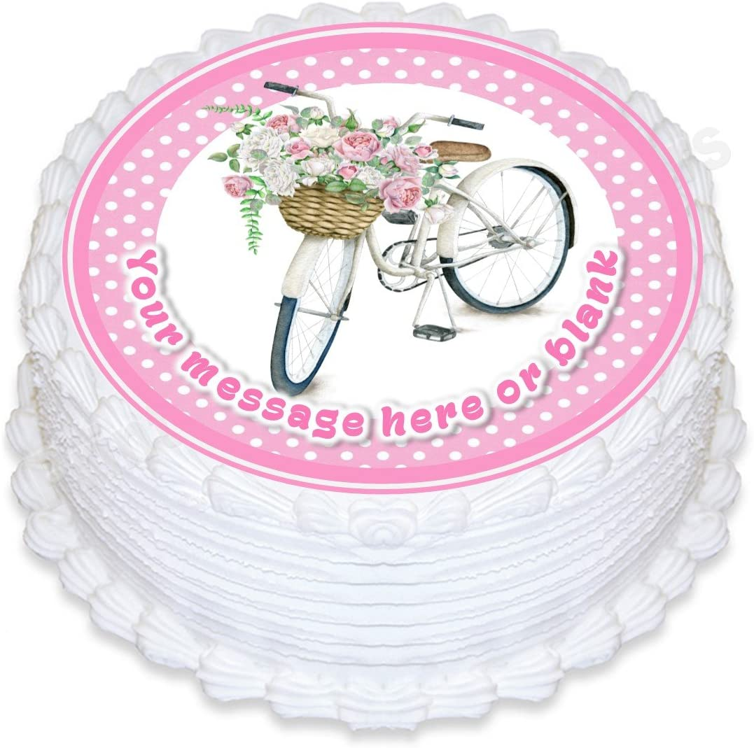 Decoración para tarta redonda personalizada con diseño vintage de bicicleta con flores para mamá, cumpleaños, aproximadamente 19 cm (o más pequeña a petición): Amazon.es: Hogar