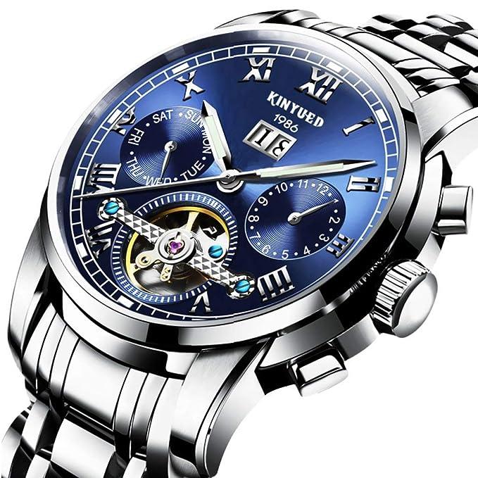 Swiss Mens Stainless Steel Blue Tourbillon Automatic Mechanical Watch