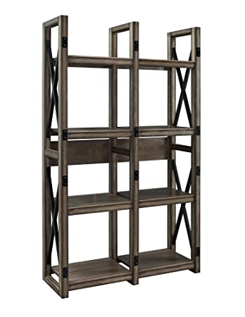 Altra Wildwood Wood Veneer Bookcase/Room Divider, Rustic Gray