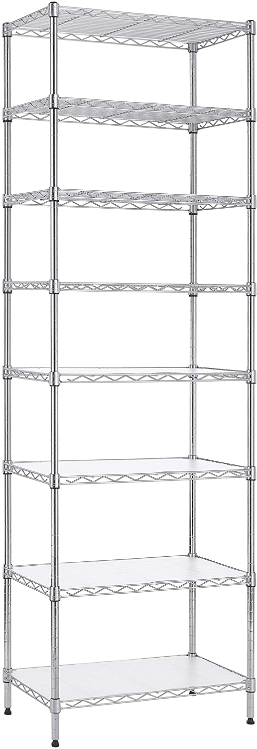 Finnhomy 8-Tier Wire Shelving Unit Adjustable Steel Wire Rack Shelving 8 Shelves Steel Storage Rack or Two 4-Tier Shelving Units with PE mat, Stable Leveling Feet and Safety Device, Chrome