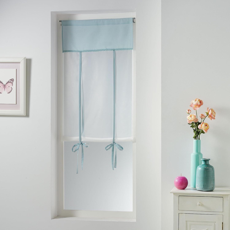 Charme et Douceur Tenda dritta in poliestere 60 x 190 cm blu ceramica con foro per far passare l/'asta dimensioni: 60 x 150 cm
