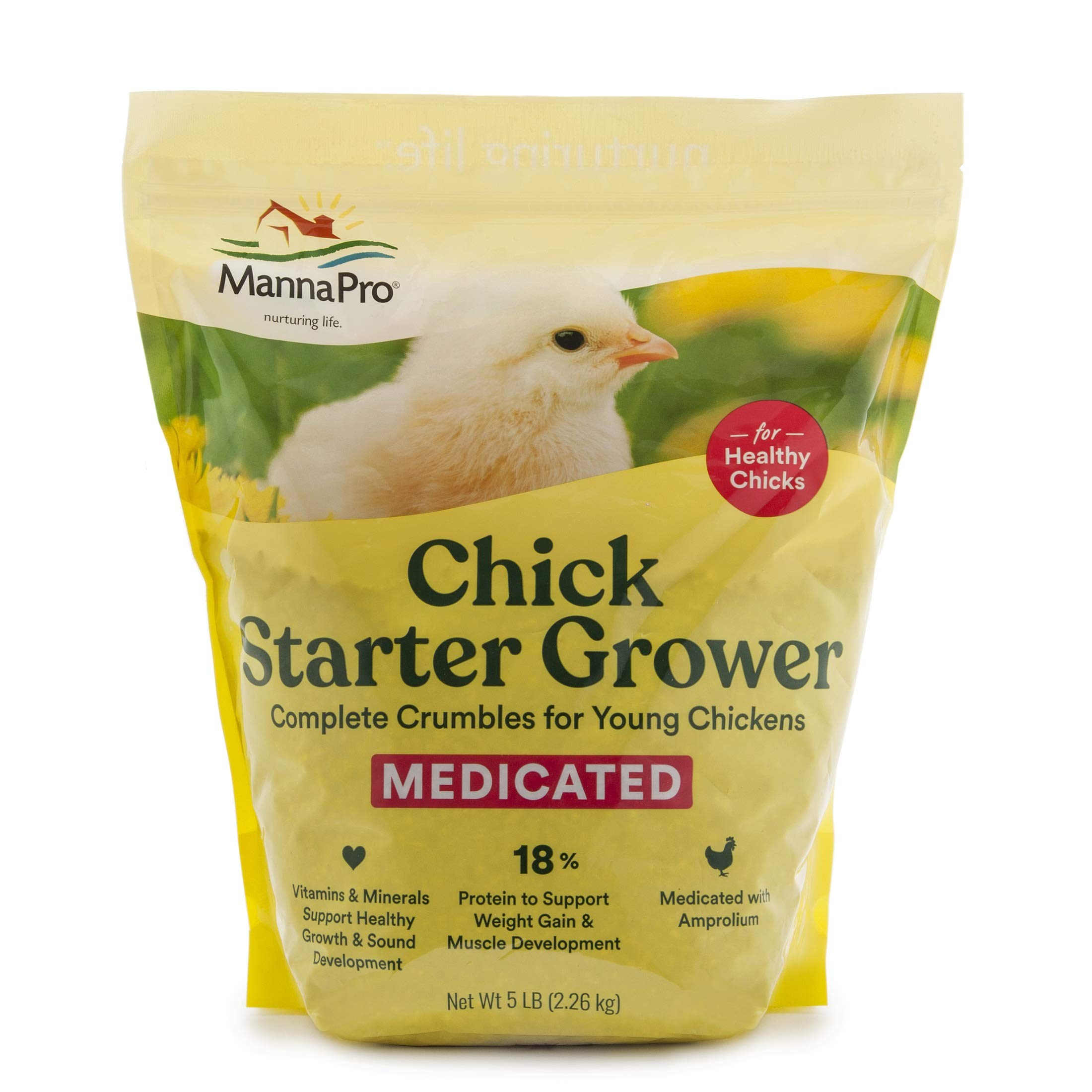 Manna Pro Chick Starter | Medicated Chick feed formulated with Amprolium | Prevents Coccidiosis | Feed Crumbles | 25…