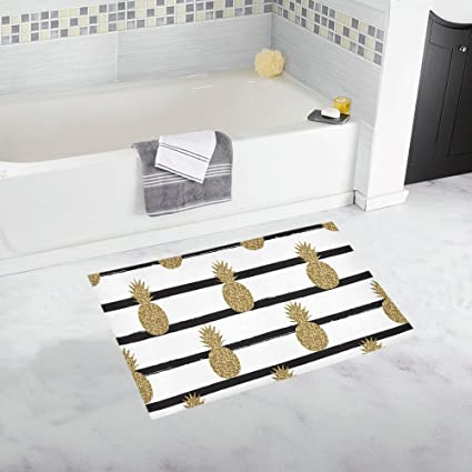 Interest Print Gold (Not Real) Glitter Pineapples Fruit On Stripes Home Decor Non Slip Bath Rug Mats Absorbent Shower Rug For Bathroom Tub Bedroom Large Size 20 X 32 Inches by Interest Print
