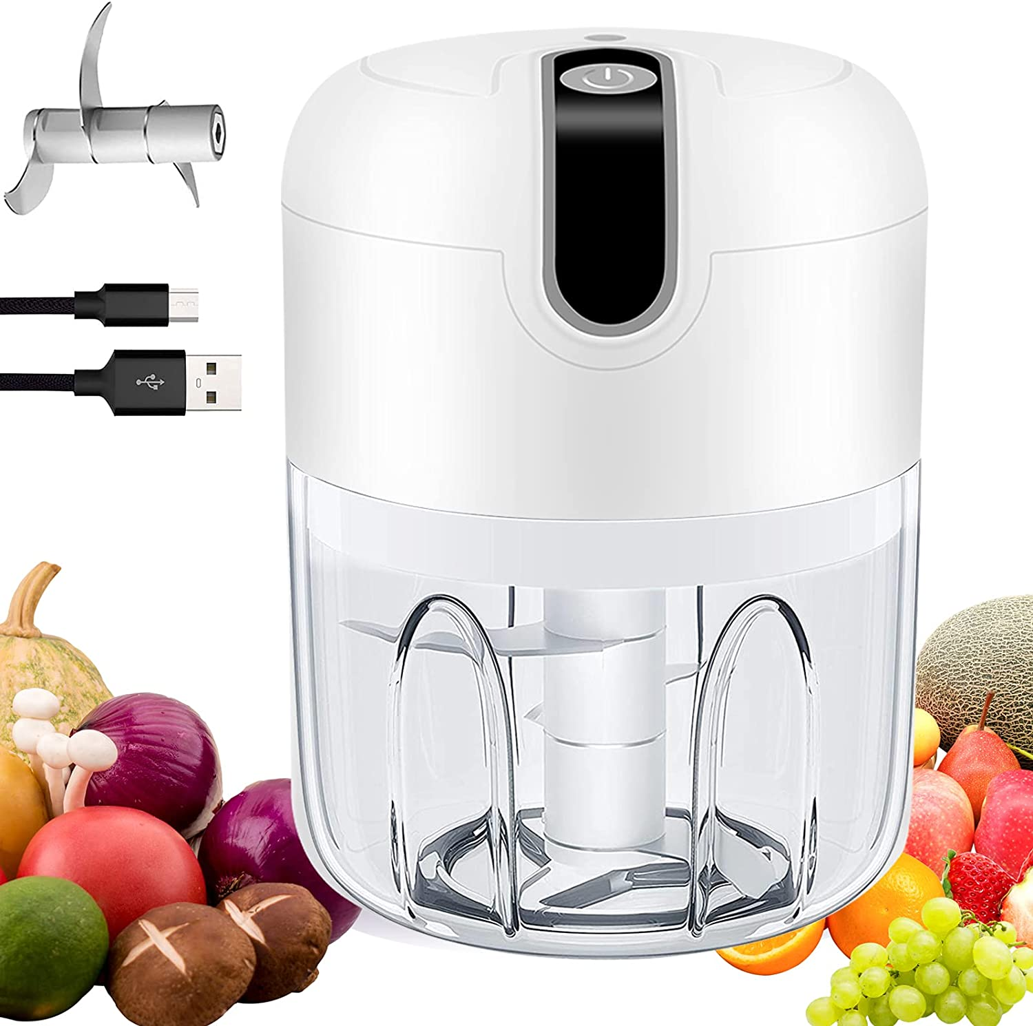 Electric Mini Food Chopper Wireless Mini Onion Cutter Vegetable Processor with Stainless Steel Blades, USB Portable Food Mincer for Garlic, Salad, Chili, Ginger, Meat, Baby Food (250ml)