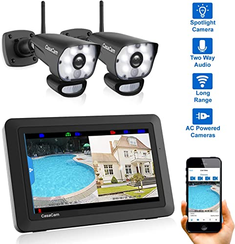 CasaCam VS1002 Wireless Security Camera System with 7 Touchscreen and HD Spotlight Cameras, AC Powered Spotlight 2-cam kit