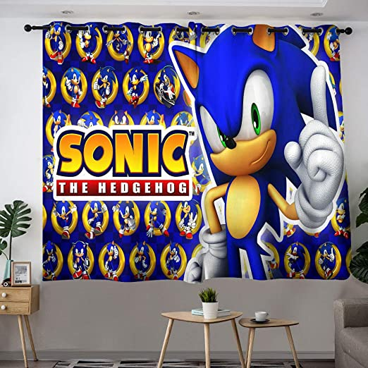 Blackout Curtains for Bedroom Sonic The Hedgehog Artwork Curtains for Child Bedroom Room Darkening Wide Curtains W63 x L63