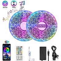 Renovo Bluetooth LED Strip Lights 50FT, Music Sync LED Light Strip Controlled by Smart Phone APP, LED Lights 15m 450LEDs…