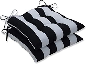 """Pillow Perfect Outdoor/Indoor Cabana Stripe Tufted Seat Cushions (Square Back), 19"""" x 18.5"""", Black, 2 Pack"""