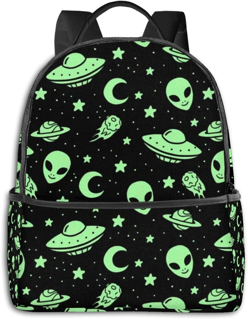 Unisexo Mochila,Green Alien Moon UFO College Bags, Mochilas ...