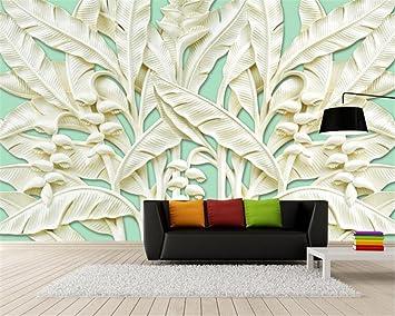 Mbwlkj Dreidimensionale Bananen Baum Relief Geschnitzt Holz Wandmalereien  Dekorative Malerei Wohnzimmer Schlafzimmer 3D Tapete 350cmx245cm