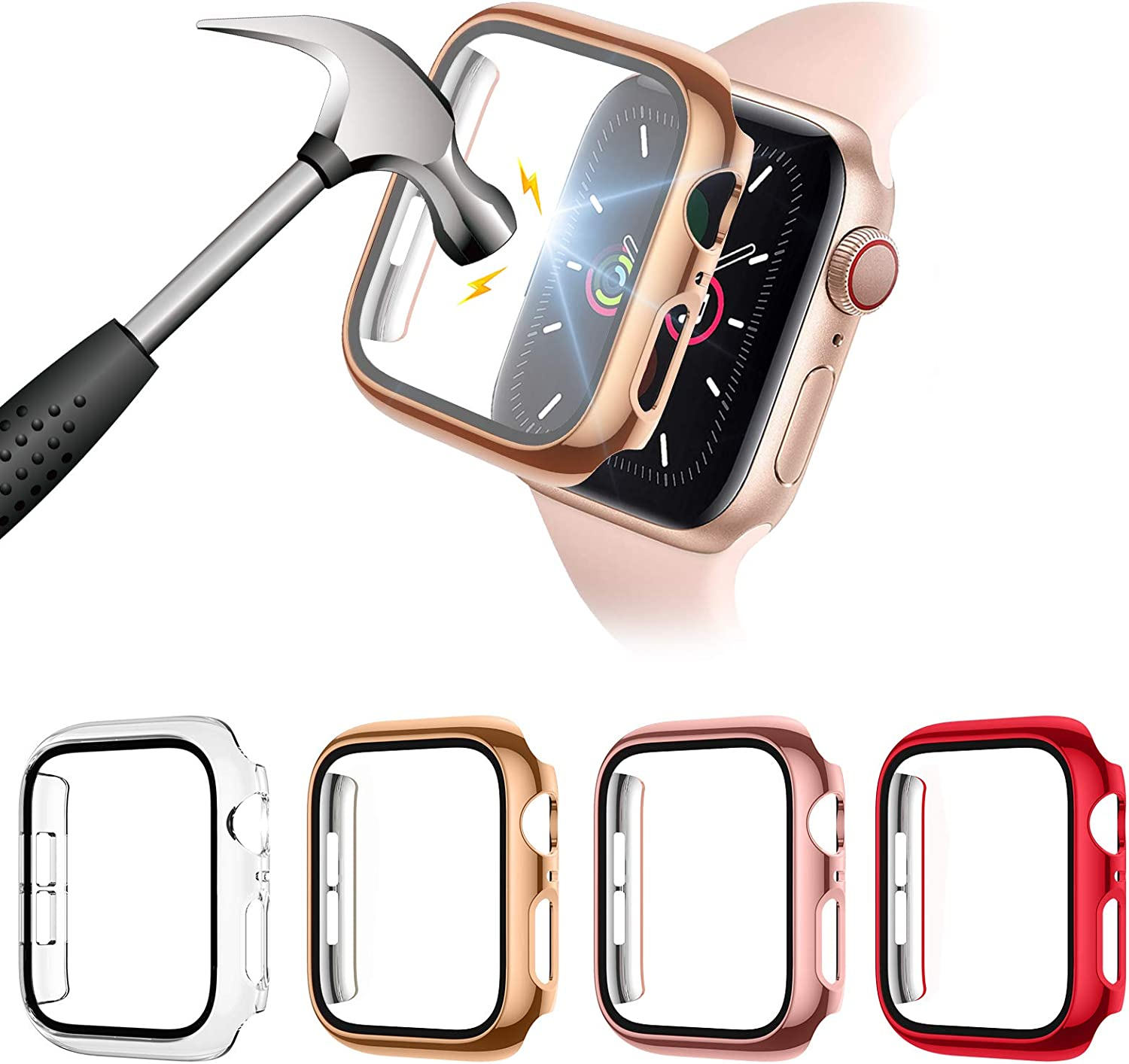 Liwin 4-Pack PC Case with Tempered Glass Screen Protector Compatible with Apple Watch Series 6 / SE / 5/4 44mm, HD Hard PC Protective Cover for iWatch 6 SE (44mm, Clear/Rose Gold/Rose Pink/Red)