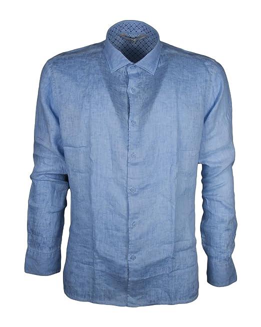 super popolare 01923 46839 Camicia Alessandro LAMURA MORA60 Slim Fit in Lino delavè: Amazon ...