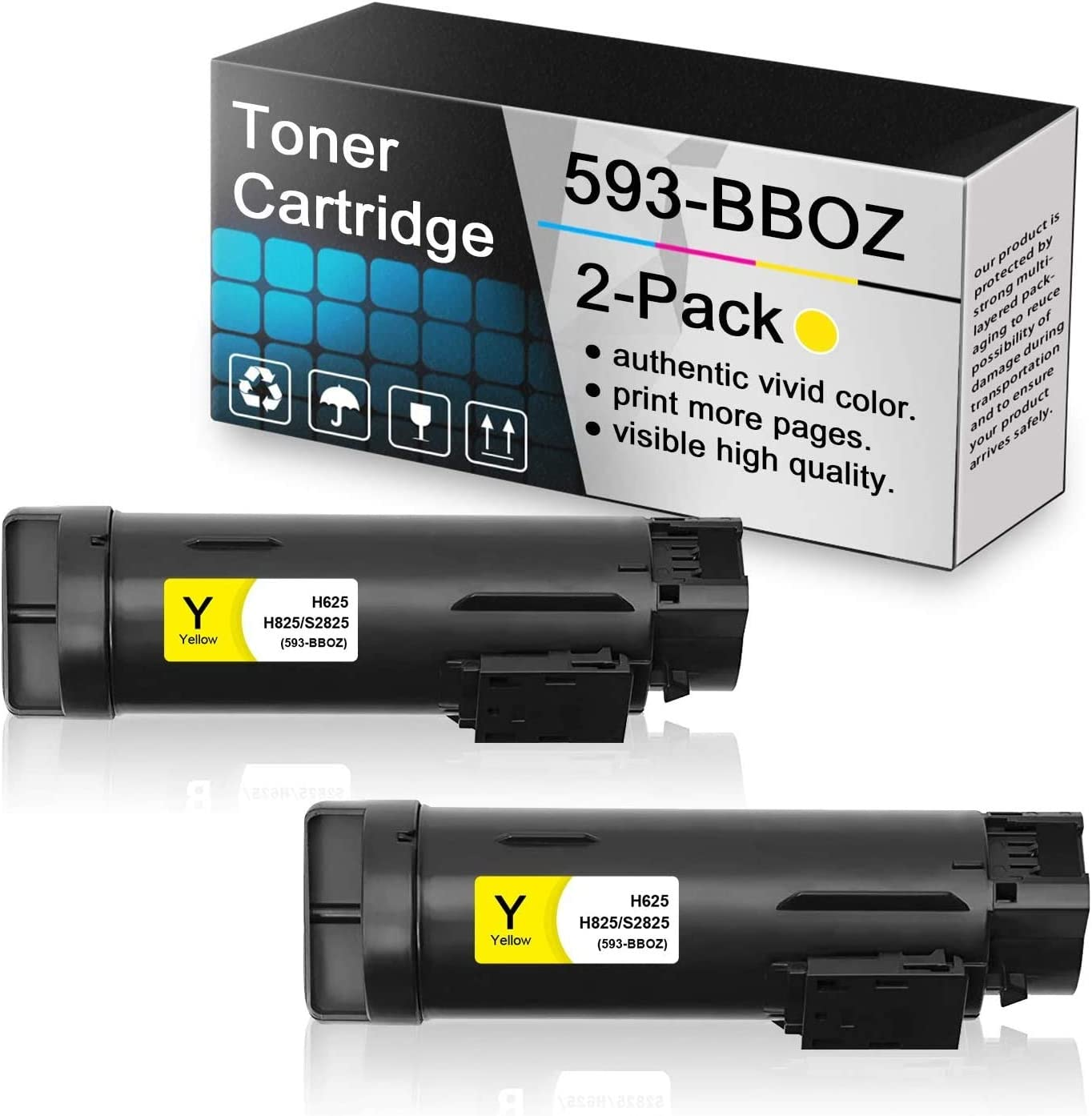 2-Pack Yellow 593-BBOZ Compatible Toner Cartridge Replacement for Dell h625 to use with Dell H625 H625cdw H825 H825cdw S2825cdn S2825 Printers.