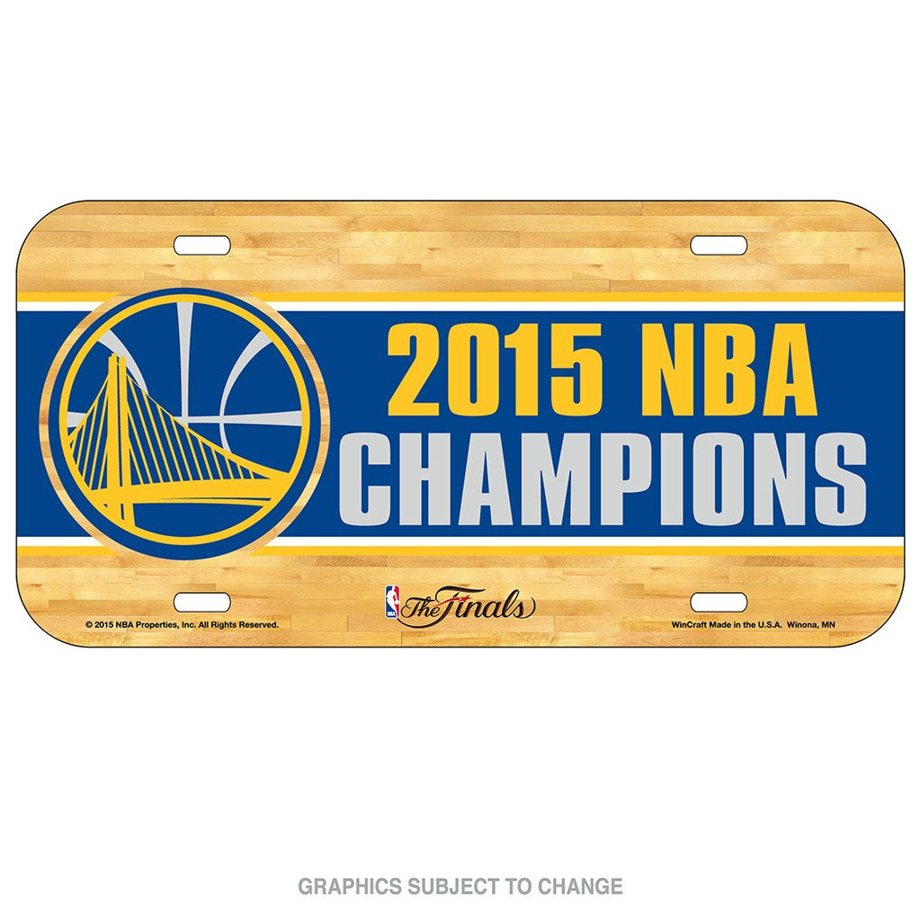 WinCraft Golden State Warriors Official NBA 6 inch x 12 inch 2015 NBA Finals Champions Plastic License Plate by 073334