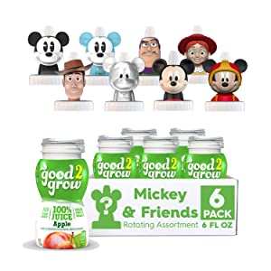 good2grow Mickey and Friends Rotating Character 6 Pack 100% Apple Juice, 6-Ounce Spill Proof Character Top Bottles,Non-GMO with no Sugar Added and Excellent Source of Vitamin C Character Tops May Vary