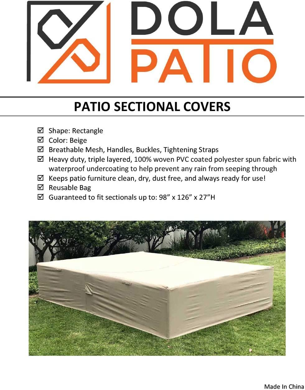 Dola Patio Furniture Covers Large Outdoor Sofa Sectional Furniture Cover Waterproof Beige Super Heavy Polyester Fabric Breathable 98 x 126 x 27