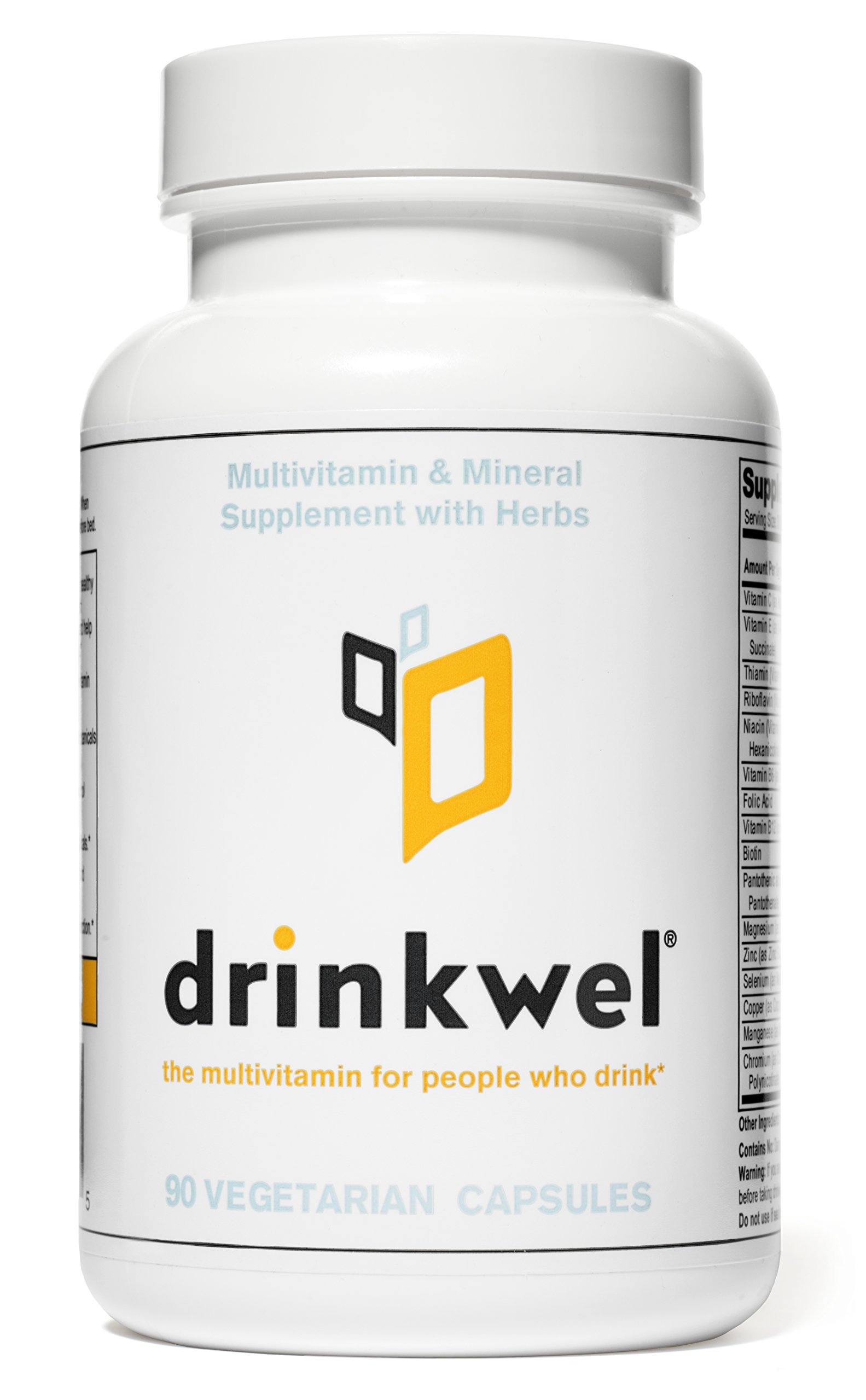 Drinkwel for Hangovers, Nutrient Replenishment & Liver Support (90 Vegetarian Capsules with Organic Milk Thistle, N-acetyl Cysteine, Alpha Lipoic Acid, and DHM) (1 Bottle)