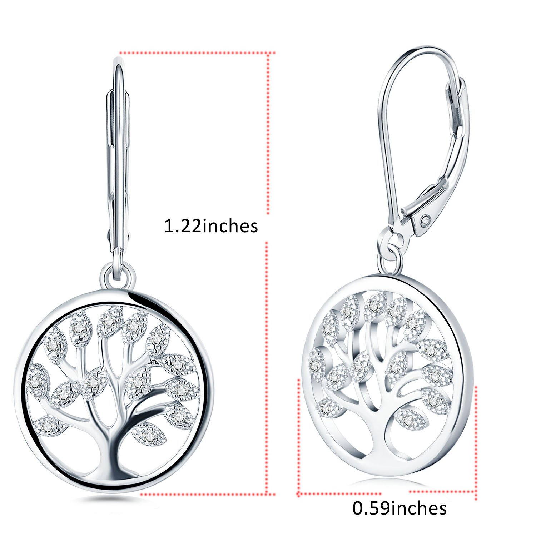 925 Sterling Silver Cubic Zirconia Family Tree of Life Drop & Dangle Leverback Earrings by JO WISDOM (Image #3)