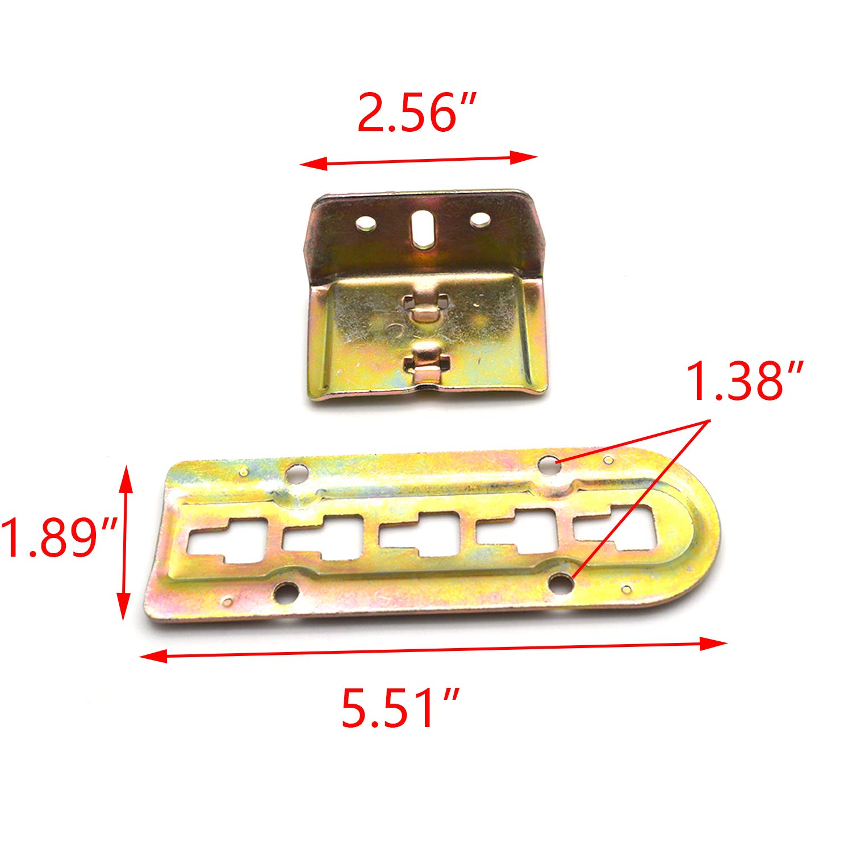 Set of 4 FarBoat Hardware Metal Heavy Duty Adjustable Bed Rail Brackets Hinges Screws Included