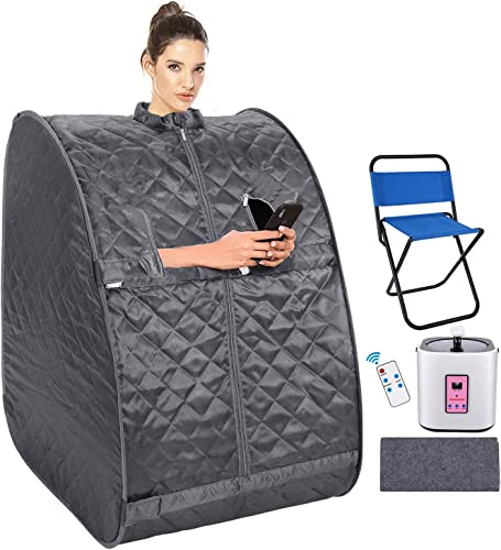 usuallye Steam Sauna Spa 2L Portable Foldable Personal Therapeutic Sauna Tent Pot for Weight Loss Detox Reduce Stress Fatigue with Remote Chair Indoor Home Dark Grey