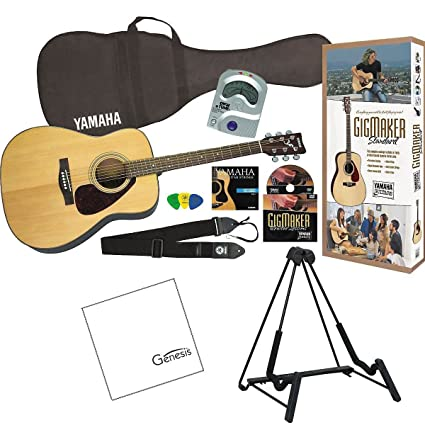 Amazon.com: Yamaha GigMaker Standard Acoustic Guitar Package (Natural) with FREE Bonus Guitar Stand & Polishing Cloth: Musical Instruments