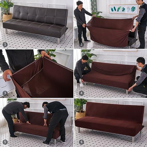 funda de sofá sin brazos estirar sofá cama protector de slipcover elástico spandex moderno sofá plegable simple sofá funda de futón cubierta por ...
