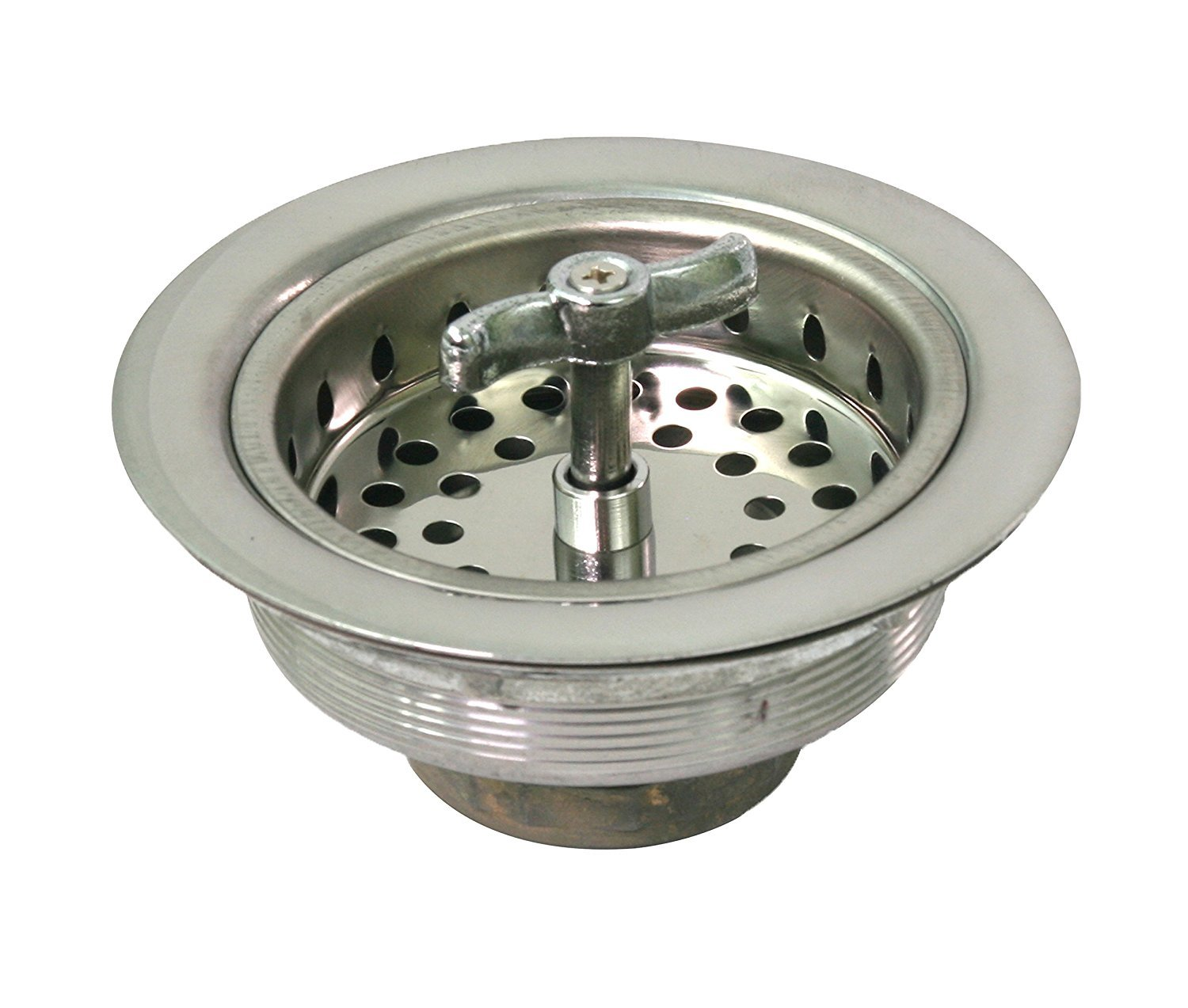 Everflow 7541 Kitchen Sink (3-1/2 Inch) Stainless Steel Drain Assembly With Strainer Basket - Spin and Seal With Threaded Stopper