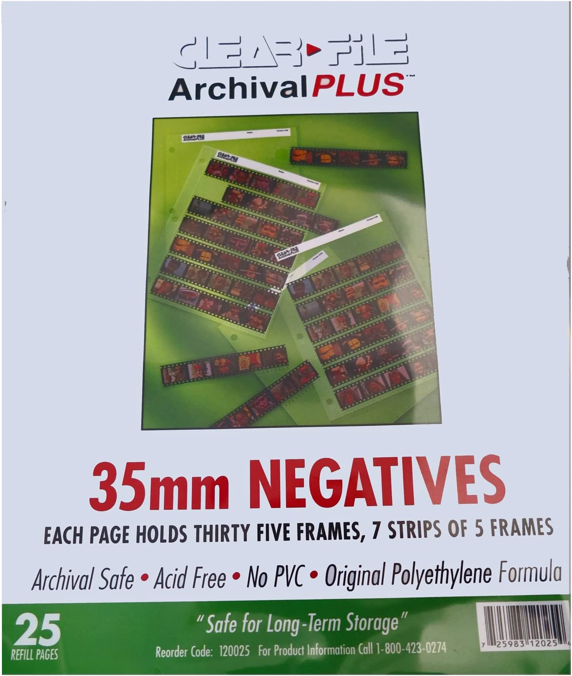 100 Pack ClearFile Archival Classic ~ 35mm Negative Pages
