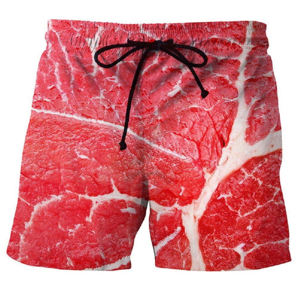 Westtreg Funny Beef 3D Stampato Beach Shorts Uomo Estate Marca Mens Board Shorts Quick Dry Shorts Homme Bermuda Hommes Boardshorts Trunks, L