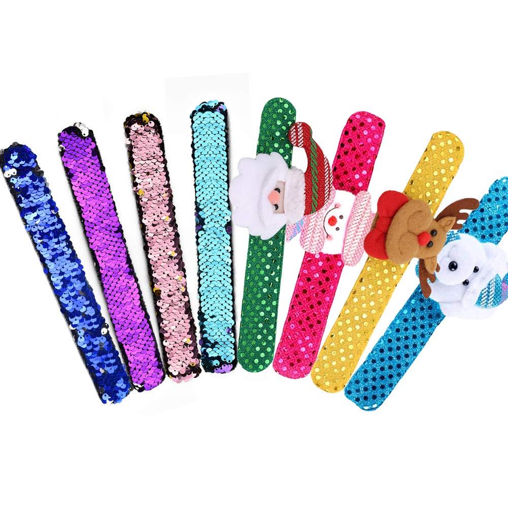 INTVN Sequins Bracelet, Paillettes Bracelets de Sirè ne Slap & Bracelet De Noë l Fê te d'anniversaire Faveurs Noë l Cadeau pour Enfants, 8 piè ces 8 pièces IN0029