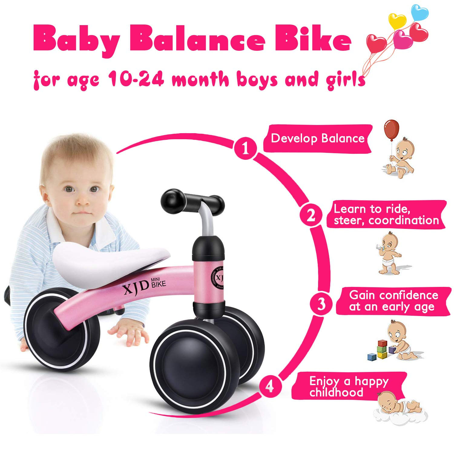 YUFU Baby Balance Bikes 10 Month 24 Months Bicycle Children Walker Toys 1 Year Old Best Cycling Toy Gifts