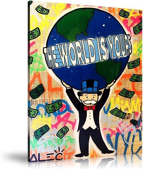 Póster de ALEC Monopoly The World is Yours en lienzo y arte de pared, impresión moderna para decoración de dormitorio familiar, Enmarcado, 12x18inch: Amazon.es: Hogar