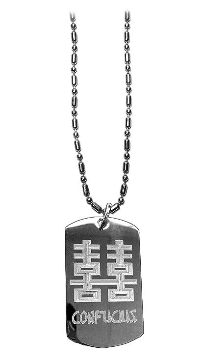 Amazon Confucius Symbol Luggage Metal Chain Necklace