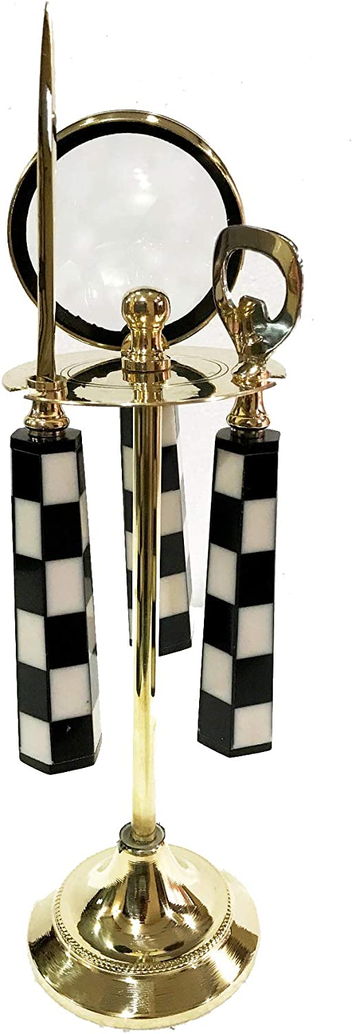 Set of 2 Marine Nautical Store Decorative Brass Magnifying Glass /& Letter Opener on Stand Desk Top
