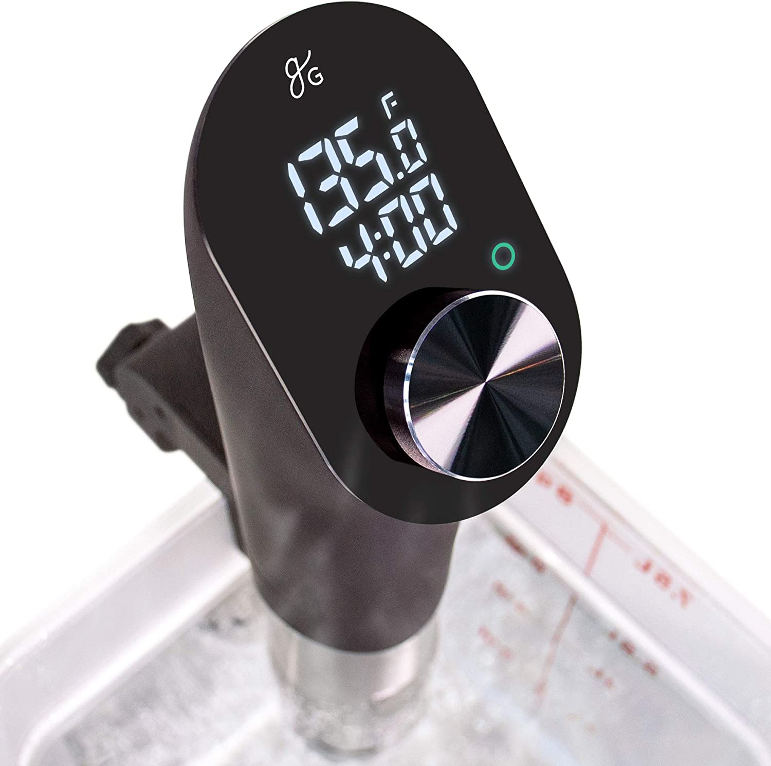 Greater Goods Sous Vide Precision Cooker, 1100 Watts, Silent Brushless Motor, Intuitive Controls, High Contrast Backlit LED, Fahrenheit and Celsius (Stainless Steel)