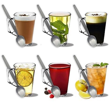 Juego de 6 vasos de Latte café & Set de 6 cucharas de Latte – 250