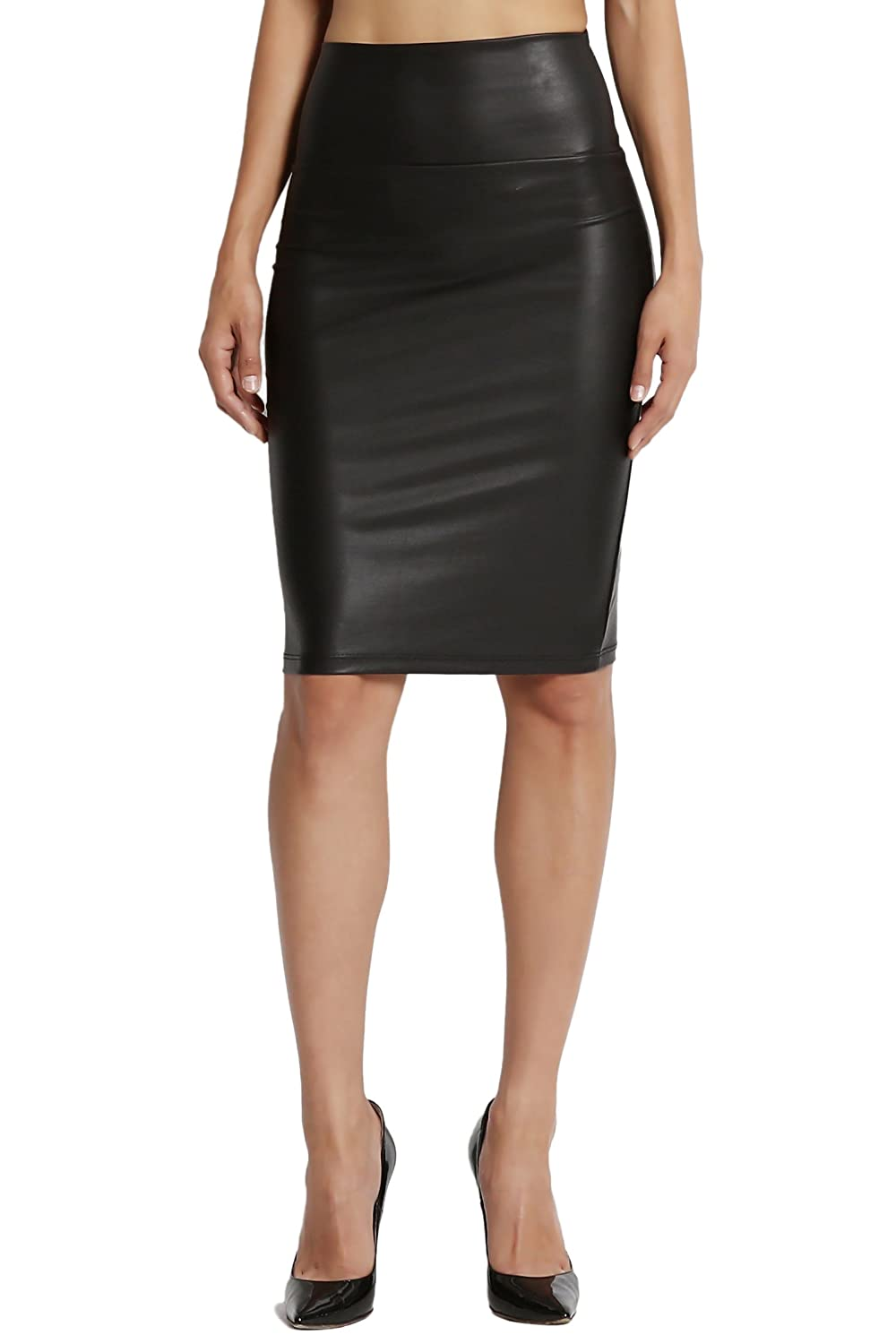 TheMogan Faux Leather High Waisted Bodycon Knee Length Fitted Pencil Skirt MS0798-A