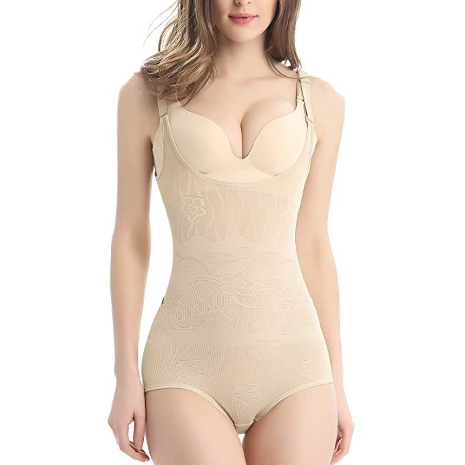 5a9630311af4a Oubaybay Body Shaper Wear Your Own Bra Full Body Briefer Shapewear for  Women Beige S