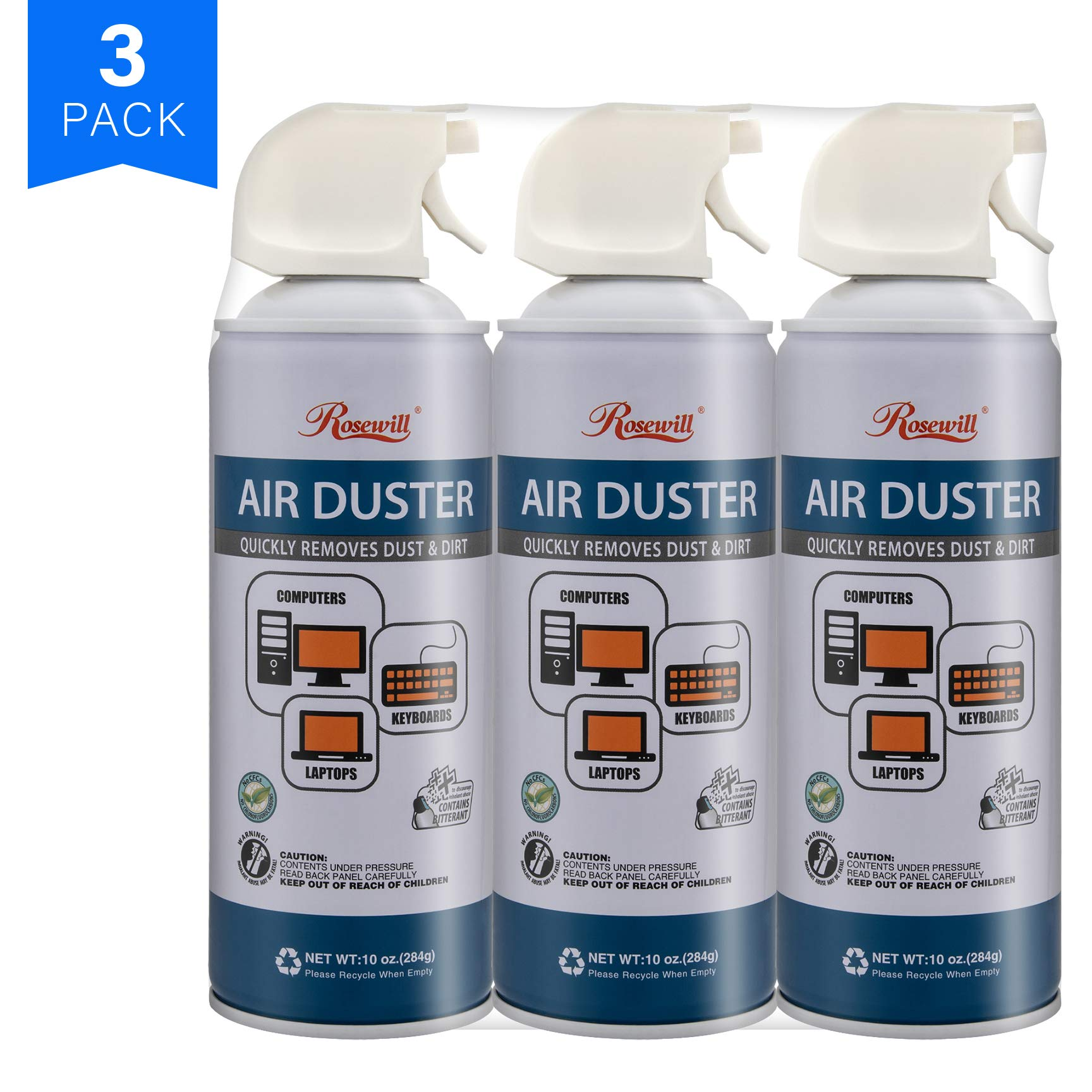 Rosewill Compressed Gas Duster, 10 oz Canned Air Multipurpose Computer Keyboard Cleaner Spray (3-Pack), Ozone Safe - RCGD-18003 by Rosewill