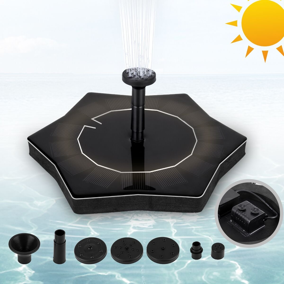 BERT Solar Fountain, Solar Panel Kit Water Pump, Flower-like Fountain Pump, Outdoor Birdbath Watering Submersible Pump for Pond, Pool, Patio, Fish Tank, Aquarium and Garden
