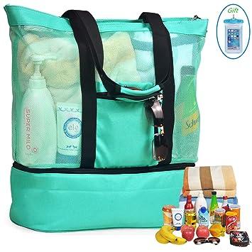 Amazon.com: Bolsa de playa de malla y bolsa térmica para ...