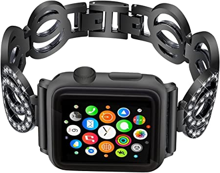 Nigaee Correa Apple Watch Apple Watch Correa 42mm Correa Apple Watch 38mm Loop Replacement Strap for iWatch Series 3,2,1 Correas Apple Watch 42mm & Correas Apple Watch 38mm, Shuanghuan Black 38mm: Amazon.es:
