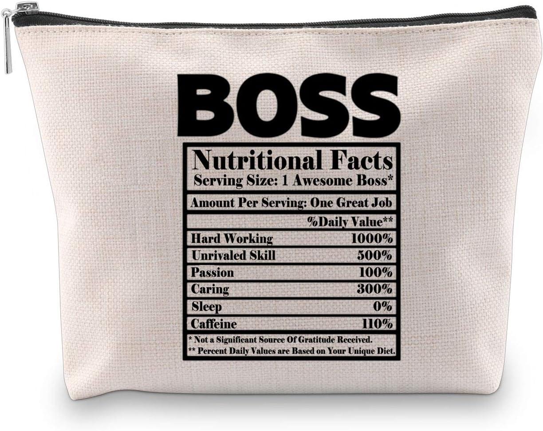 BOSS Datos nutricionales Jefe Regalos Funny Boss Datos nutricionales Bolsas Boss Cosméticos Neceser Boss Maquillaje Bolsa Novedad Boss Regalos