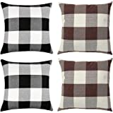 WiliW 4 Pack Pillow Covers 18 X 18 inch,Decorative Cushion Red-White Beige-White Square Throw Pillow Case Classic Retro…