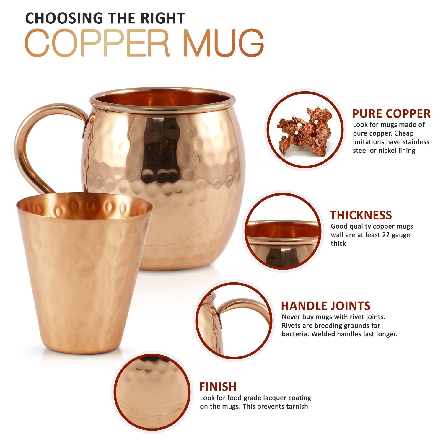 Mule Science Moscow Mule Copper Mugs - Set of 4 - 100% HANDCRAFTED - Pure Solid Copper Mugs 16 oz Gift Set with BONUS: Highest Quality Cocktail Copper Straws, Coasters and Shot Glass! by Advanced Mixology (Image #4)
