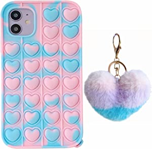 ESSTORE Case for iPhone XR, Push Bubble Sensory Fidget Toy Case Stress Anxiety Relief Protection Cover+Stand, Cute Heart-Blue