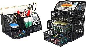 PAG Office Supplies Mesh Desk Organizer Set Accessories Storage Caddy Pen Holder for Desk,Black