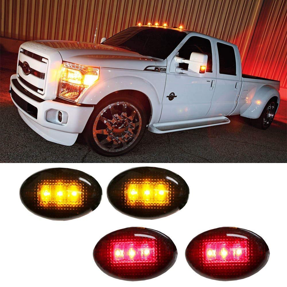 iJDMTOY Smoked Lens Amber/Red LED Rear Bed Side Marker Lights Set For Ford F350 F450 Super Duty Truck Double Wheel Side Fenders iJDMTOY Auto Accessories Trunk Bed Fender Side Reflector Lamps