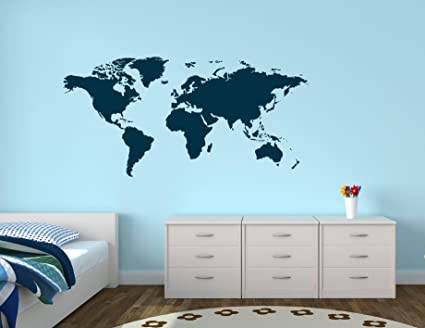 Amazoncom World Map Dark Blue Color Wall Decal X Home - World map in blue color